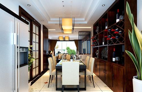 酒柜型餐厅背景墙中国风搭配毫无违和感