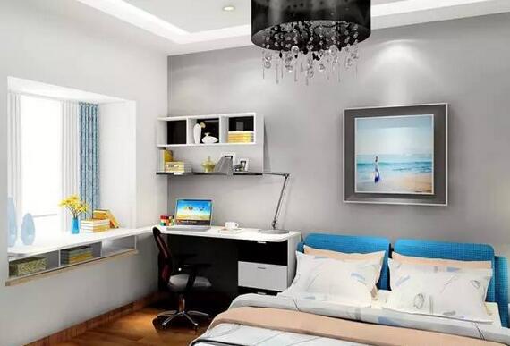 飘窗的利用空间更大,可以做成小书柜,靠近书桌的两个柜子不设柜门图片